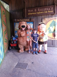 My kids with Russell and Dug from Disney's UP in the Animal Kingdom